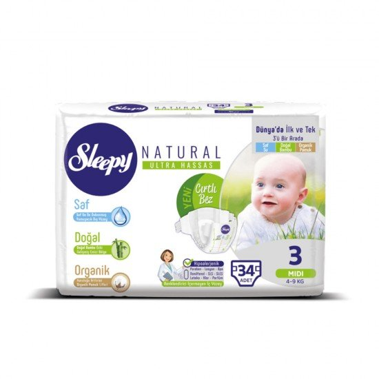 Sleepy Natural 3 Beden Midi Bebek Bezi 34lü