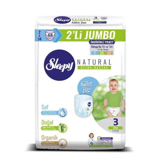 Sleepy Natural Külot Bez 3 Numara Midi - 2li JUMBO 4-9 kg 68li
